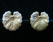 14K Gold Art Nouveau Leaf earrings with diamonds