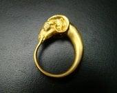 Ram ring 14k gold  with diamond eyes