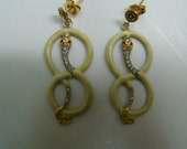 Magnificent 18k gold Snake dangle earrings with enamel and diamonds