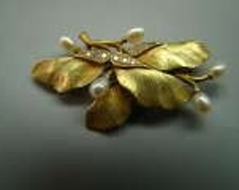 14K Leaf brooch or pendant