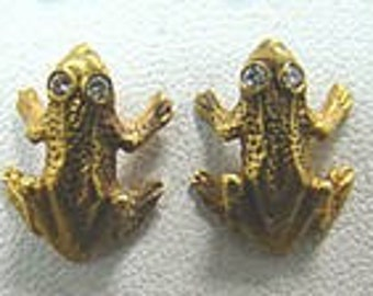 14K gold frog earings with diamond eyes