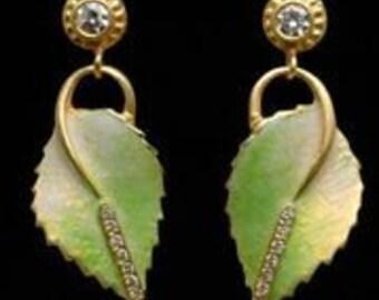 18K Enamel leaf earrings with diamonds and enamel