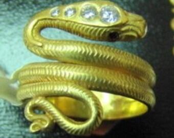 Antique style 14k snake ring