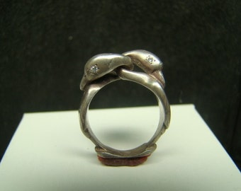 Sterling Silver Swans Ring with diamonds