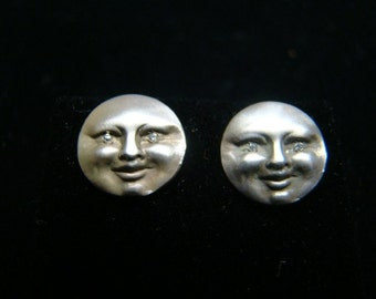 Sterling silver sun face earrings
