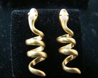 Snake earrings 14k gold with diamonds