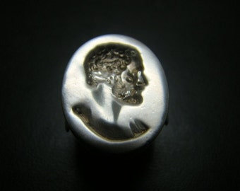Large Sterling Silver Roman crest head ring
