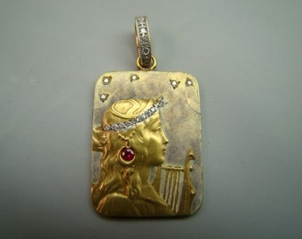 18K Gold Art nouveau style enamel pendant with diamonds and ruby