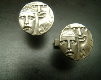 Sterling Silver Faces Cufflinks with diamonds