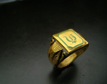 Heavy 18K Gold Amazing Egyptian  Crest ring with Enamel