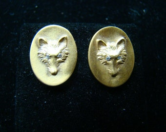 Adoreable  14K gold oval fox earrings with diamonds