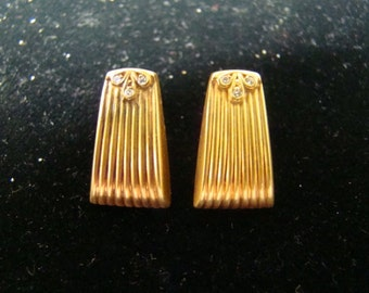 Classic 14k gold Deco style earrings with diamonds