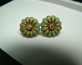 Flower earrings 18k gold with diamonds and enamel