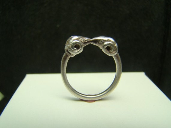 Sterling Silver Double rams head ring with diamond eyes