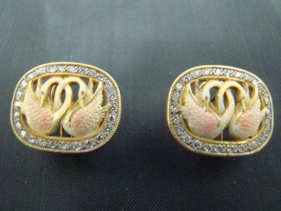 18K Gold enameled swan earrings with diamonds