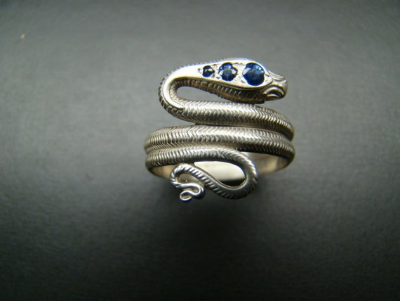 Antique style Sterling Silver Sapphire and diamond snake ring