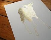 Oh Deer Gold Foil Print A3