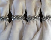 READY TO SHIP Silver Glass Pearl Stretch Napkin Rings (set of 6)