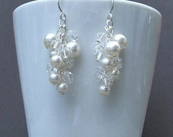 Pearl Bridal Earrings Swarovski White and Clear Crystal Silver Cascade Dangle Cluster Bridal I Customizable