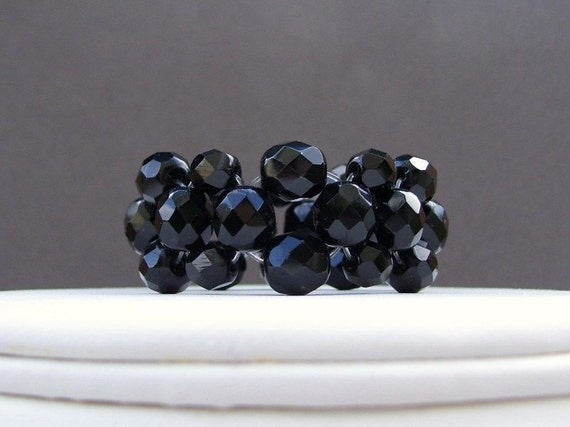 Set of 8, Jet Black Crystal Stretch Napkin Rings, Holiday table decorations, Celebration accessories