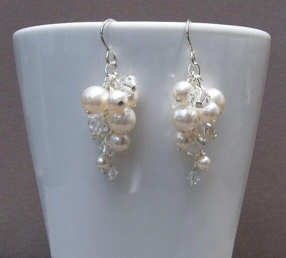 Swarovski Bridal Pearl Earrings White Clear Crystal Silver Cascade Dangle Cluster Bridal II Customizable