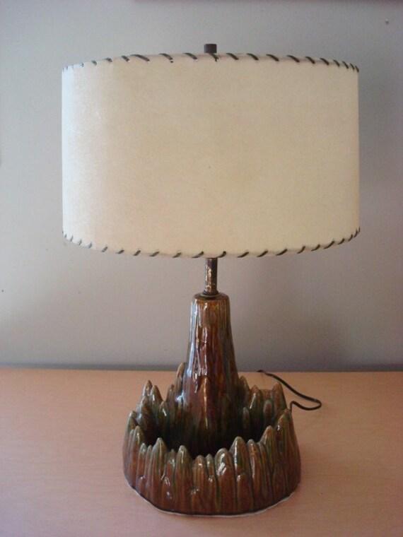 Vintage 1950's Volcano TV Lamp w/ Fiberglass Shades