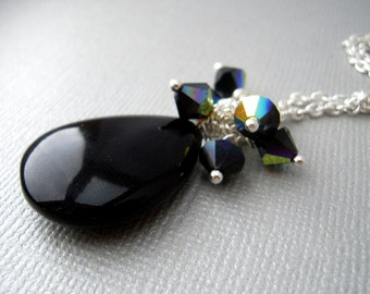 black pendant necklace, Black onyx pendant necklace, Gemstone Jewelry Pendants, on Silver Chain Necklace, Unique Gifts for Women