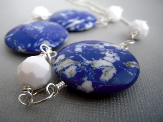 blue bead necklace, big stone bead necklace, blue and white, silver, beaded jewelry