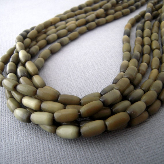 multi strand bead necklace, earthy chunky green glass