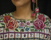 1970s Vintage Roses from Guatemala Unique Hand Embroidered Needleart Huipil/Blouse