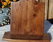 Wooden Cookbook Stand, Walnut Wood, 12 inch, with splatter shield