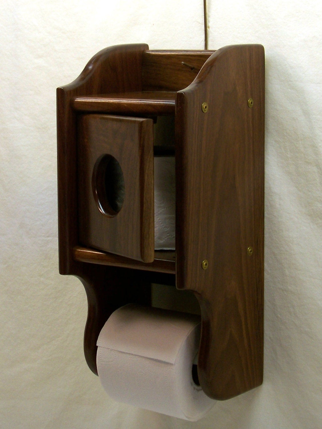Items Similar To Wooden Toilet Paper Holder With Tissue