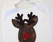 SALE Organic Christmas Rudolph Reindeer Applique Bib
