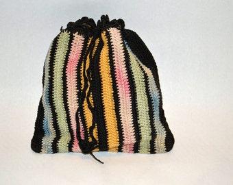 Antique colorful Crochet handbag purse pouch