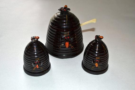 Vintage Apiary Beehive Sugar Bowl and Salt and Pepper shakers set w/ spoon Honey jar