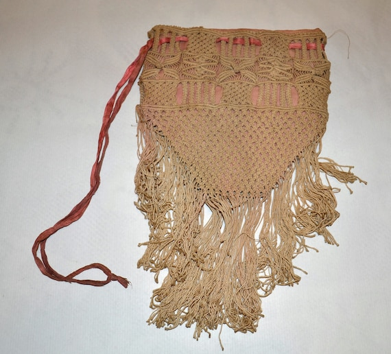 Antique Victorian crochet Bag with fringe by honeybeepollen
