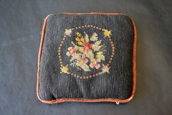 Antique Needlepoint Pillow Velvet backing and down filling