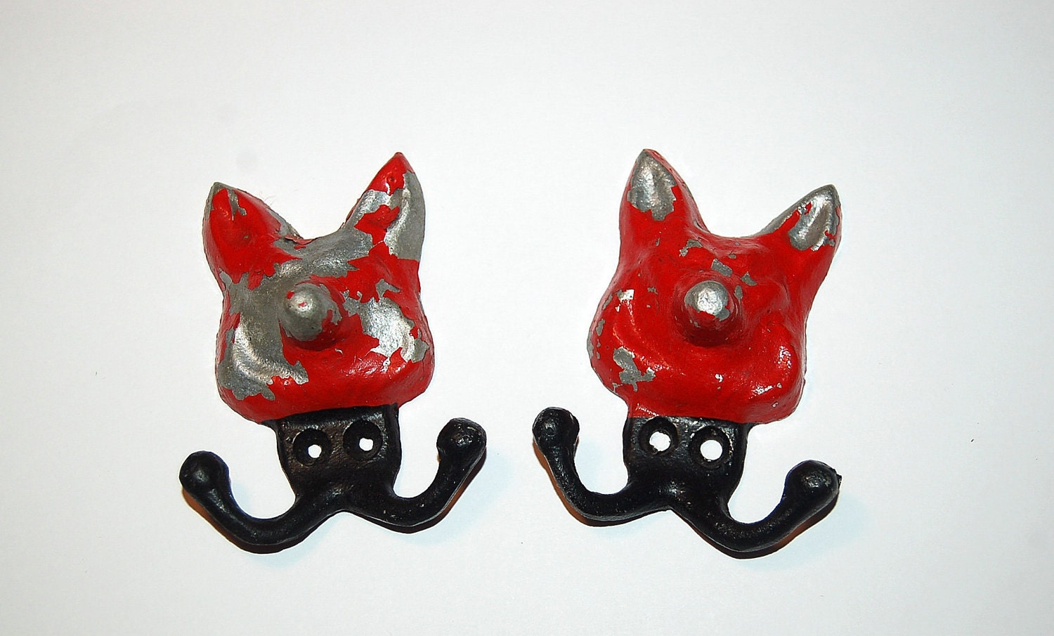 Vintage Metal Silver And Red Fox Wall Hooks