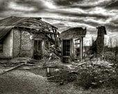 Black and White Architecture Photograph, Dramatic Photograph, beauty in ruins, 8x12 black and white art