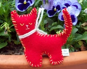 Red Felt plush kitty cat SALE CLEARANCE