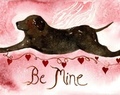 Chocolate Lab Angel Valentine Card, ORIGINAL based on watercolor painting