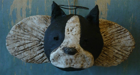 Boston Terrier Angel Ornament OOAK, hand-sculpted from papier mache