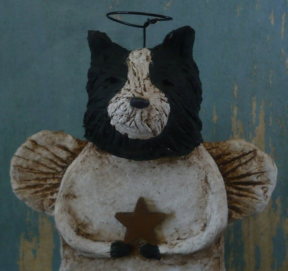 Border Collie Angel OOAK, hand-sculpted from papier mache