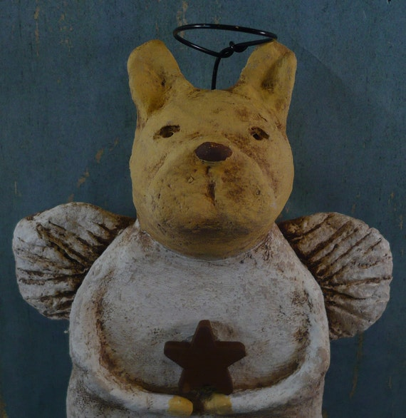 French Bulldog Angel Figurine OOAK, hand-sculpted from papier mache, FRENCHIE Angel