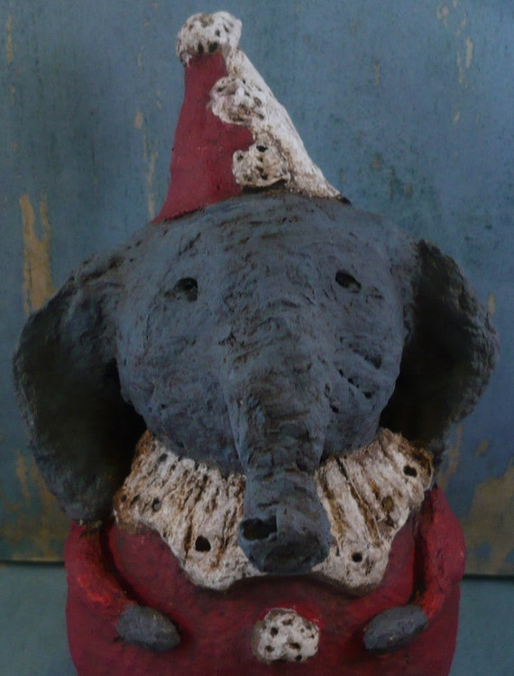 Primitive Elelphant CIRCUS CLOWN, OOAK, hand-sculpted from papier mache