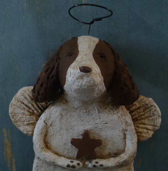 Springer Spaniel Angel OOAK hand-sculpted from papier mache, Brown and White SPRINGER