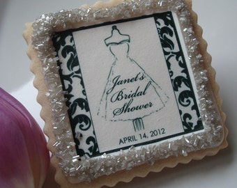 Personalized Bridal Shower Cookie Favor Damask