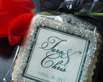 Wedding Favors Black Tie Wedding Personalized Wedding Favor Shortbread Cookies