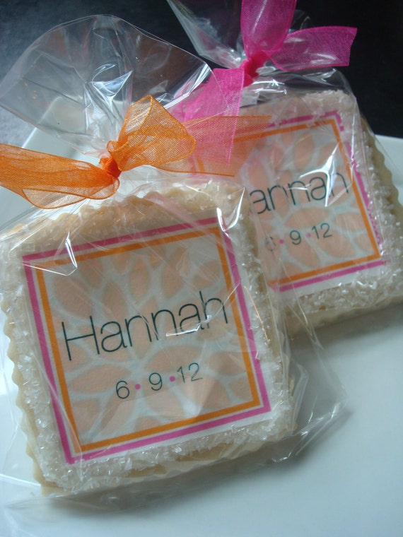 Personalized Zinnia Tangerine and Fuchsia Shortbread Cookie Party Favors