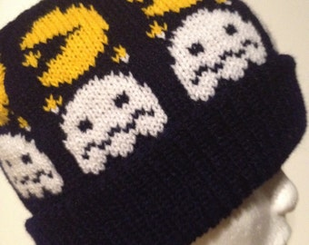 Machine knit- Packman Hat- Stocking Cap- Beanie- Gamer hat- knitted fun hat-Novelty Hat